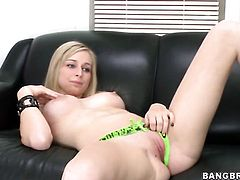 Solo girl is massaging her cunt