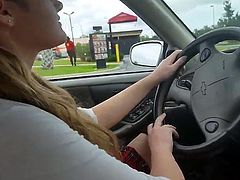 Double Dildo Herself At A Drive Thru