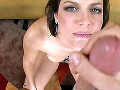 Milf really likes to do anal. Bobbi Starr is getting a big meat stick placed inside her mouth. She sucks it for a bit before it is placed inside her tight ass.