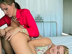 Joey Brass, Julia Ann and Natalia Starr are having fun on the bed. The milf wants to join in on the action that her daughter is having. The guy does not need much convincing.