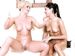 Angela Sommers with big hooters and bald cunt satisfies herself