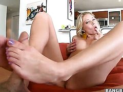 Blonde Shawna Lenee believes that fresh cum gives her sexual energy to spend