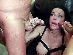 Veronica Avluv is in a gangbang. She finds out that she can take all of them on at the same time and we see her having group sex in this video. She is covered in cum.