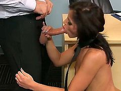 Adriana Chechik really needs to get examined or she will be late for her job interview. So she gives a blow job to the doctor to speed things along.