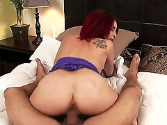 Ashlee Graham is a horny wife that is caught by her husband pleasing herself. The huge ass is then joined by her hubby in the bed and she gets her pussy stretched.