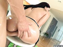 Brunette Sheena Ryder with round butt gets her mouth stretched by beefy rock hard love stick of hot dude