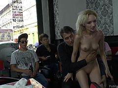 All the guys in the bar are having a blast, as a slim milf with nice small tits gets disgraced publicly, by a horny guy, who's eager to check out her appetizing cunt. Click to watch blonde Melanie, persuaded into sucking dick, while on knees. Don't miss the spicy details!