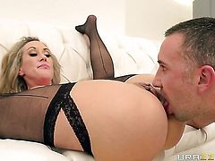 Keiran Lee makes Brandi Love with massive knockers gag on his beefy schlong