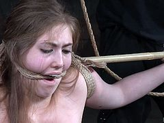 An innocent blonde babe has been tied up and gagged, while a horny executor gets excited at the sight of this lost mermaid, with ancient goddess' perfect nude body. See the guy making her discover her wildest orgasmic pleasures in a dirty manner, by using ropes strongly bonded, kinky dildos! Have fun...