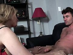 James Deen makes Nina Hartley with juicy tits gag on his meaty rod