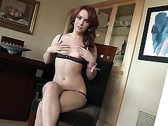 Irresistibly hot hoochie Dani Jensen with small breasts and hairless muff is completely naked and pl