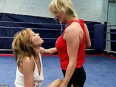 Blonde with juicy tits displays sexy body while getting her slit eaten by Tanya Tate in lesbian action