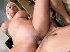 Nikita Von James gets a mouthful of sausage in blowjob action with horny fellow
