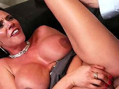 Ariella Ferrera celebrates making the new deal with her coworker. She exposes her huge tits to the man and sits on her back on the sofa to be penetrated.