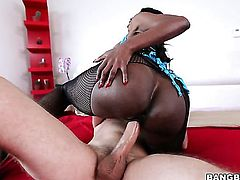 Milf Diamond Jackson with gigantic melons and hard cocked guy enjoy oral sex