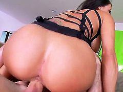 Peta Jensen is a brunette porn star that loves a large hard cock. She has big tits that she loves to have out on display to be caressed while she is sucking.