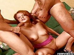 Jeniffer Redhead Cunt Takes Two Guys For A Hardcore DP Fuck