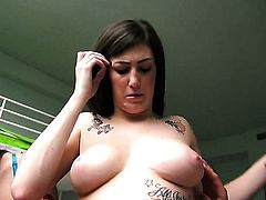 Angelina Mylee cant resist guys stiff worm and takes it in her mouth