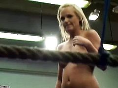 Blonde Barbie White doing lewd things with Cipriana in lesbian action