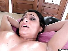 Brunette Charley Chase with big ass is horny as fuck after getting her hands banged