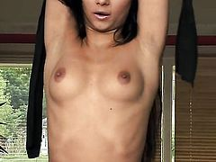 Angel Pink gets naked to give a close-up view of her fuck hole in solo scene
