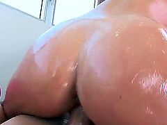 Dillion Harper smears her huge ass with oil before getting her lovely shaved pussy drilled. She knows exactly what she wants - a hard cock inside it.
