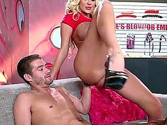 A couple of horny porn stars are working at a blow job emporium. They are doing more then just sucking - a babe is getting an anal gangbang from a costumer.