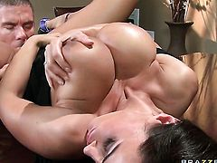 Lisa Ann with gigantic hooters slowly sucks the head of her Mick Blues schlong