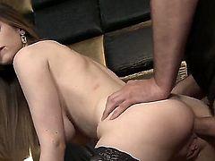 Stella Cox really loves to tease. She has the body to captivate men for hours. In this scene she is in her sexy stockings as she is getting an anal gangbang.