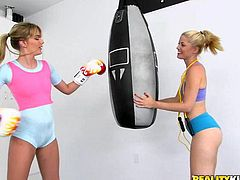 Kenna and Charlotte are two very attractive, athletic young ladies. They've been roommates for a while, and they became lovers shortly thereafter. After doing some hardcore boxing training, they do some hardcore resting. This rest period involves kissing, rimming and fingering one another deeply.
