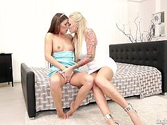 A slutty babe, Zena, gets easily seduced by her naughty companion, a voluptuous milf with blonde hair and tattoos. Click to watch these two ladies getting loose! Don't miss the inciting lesbian scenes and have fun.