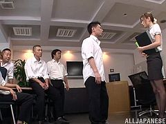 The schoolboys were horny and Kaori was there to help them with their urges. They simply could not control themselves and before long, she was having her clothes torn off by her horny students. The students rubbed her cunt and grabbed her boobs.