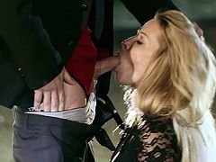 Visit official Wicked Pictures's HomepageSlutty blonde in black lingerie is forced in kneeling and sucking cock like whores, choking and moaning in the same time with sucking the dick hard