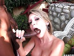 Blonde Courtney Cummz cant resist guys sturdy rod and takes it in her mouth