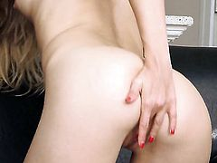 Cayenne Klein with tiny tits and hairless twat shows it all as she plays with her muff pie