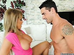 Dangerously horny stunner Amber Lynn Bach with phat ass and trimmed beaver and hard cocked dude Ryan Driller fulfill their sexual needs and desires together