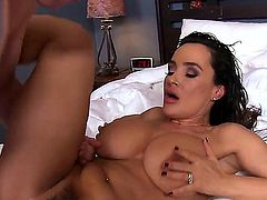 Lisa Ann xxx is in the hotel room with her step son. They are close together and they wake up in the middle of the night, turned on by one another.