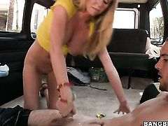 Blonde Brynn Tyler with juicy bottom warms man up and takes his meat stick in her cunt