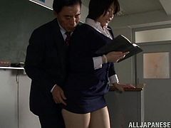This naughty schoolgirl slut is trying to work on her homework, but her teacher wants to fuck. He grabs her boobs and pulls up her skirt, to reveal her pantyhose. She lets him have his way with her in the classroom.