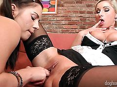 Fuck hungry minx Leony April screams from endless orgasms after getting tongue fucked by her lesbian girlfriend Vanessa Hell