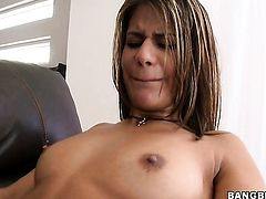 Brunette Kodi Gamble is hungry for lesbian sex and gets used by Mercedes Lynn