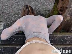 Brutally fisting the wifes snatch at the park