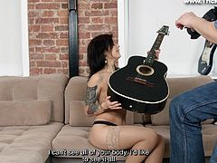 Gina likes pictures and guitars, but more than anything she has an addiction to juicy cocks. So, this photo shoot stars normal, but more and more Gina and the Agent gets excited. They both want more than a regular picture session and everything gets just better, when she began to suck his dick.