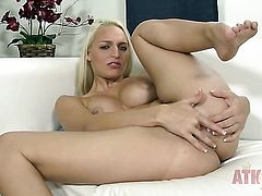 Blonde woman Macy Cartel cant live a day without playing with her snatch