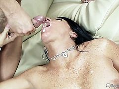 A hot cougar is cumshot