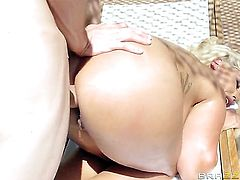 Anal gangbang for a golden blonde