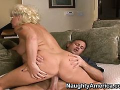 JoAnna Storm with massive jugs and bald beaver learns more about hard anal sex from horny bang buddy Bill Bailey
