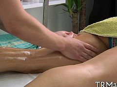 Sensual oil massage makes beauty give wet oral job