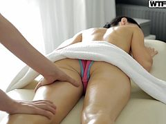 After a very stressful day, Greta decides to go to the spa for a few hours rest. But seeing that the young man is handsome, in combination with massage gets so excited, that now wants to eat his cock, as a reward for this luxurious massage.