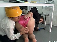 japanese office worker sticks his fingers deep in her hairy twat